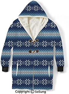 Winter Blanket Sweatshirt,Traditional Scandinavian Needlework Inspired Pattern Jacquard Flakes Knitting Theme Decorative Wearable Sherpa Hoodie,Warm,Soft,Cozy,XXXXL,for Adults Men Women Teens Friends