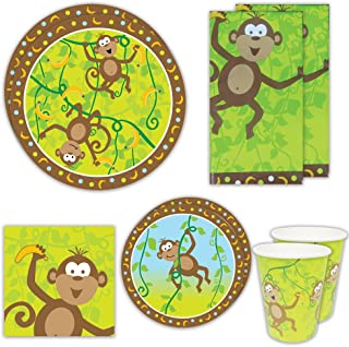 Blue Orchards Monkey Party Deluxe Party Packs (70+ Pieces for 16 Guests!), Monkey Baby Shower Supplies, Jungle Party Tableware
