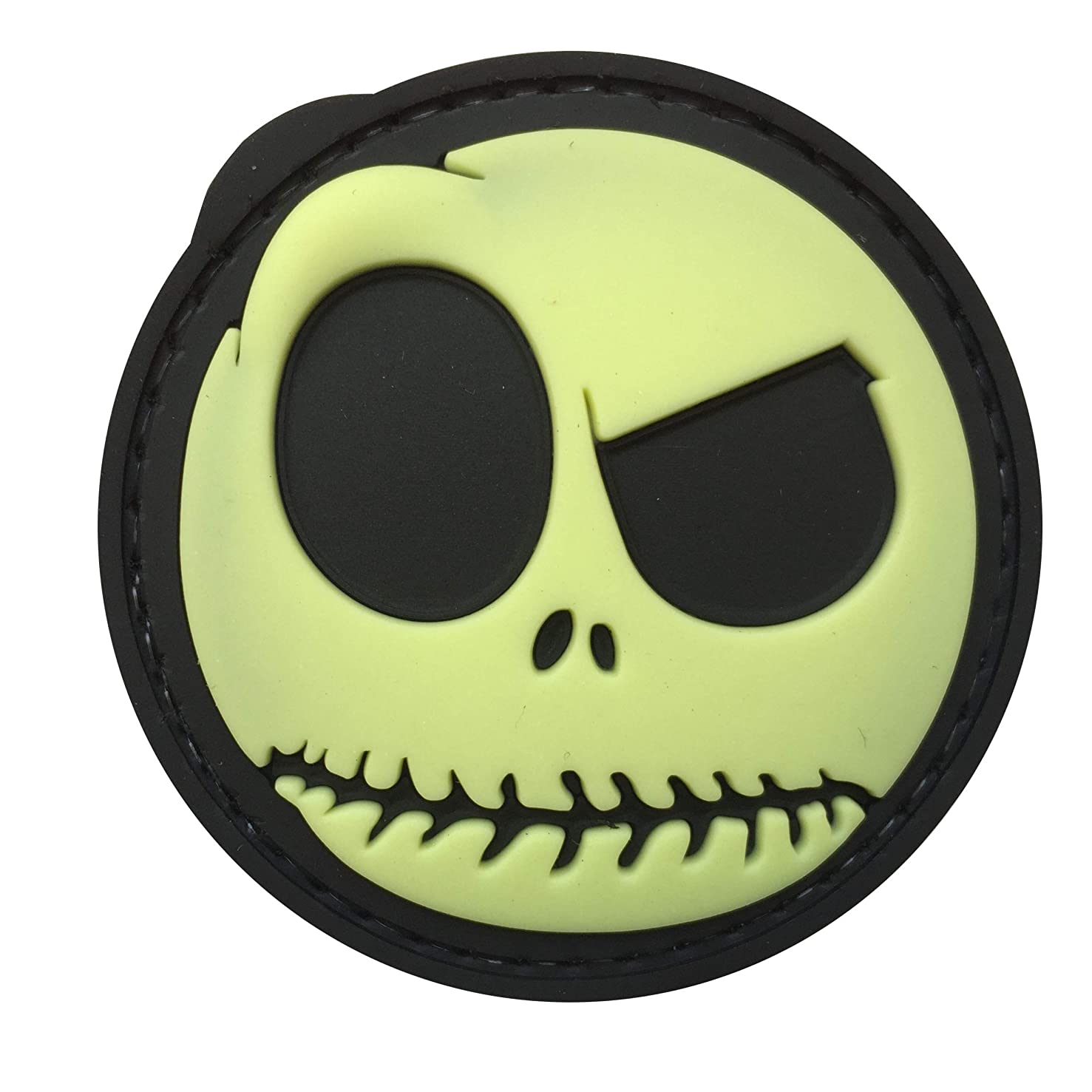 Nightmare Smiley Funny Skull Glow in The Dark GITD 3D PVC Rubber Patch by uuKen Tactical Gear