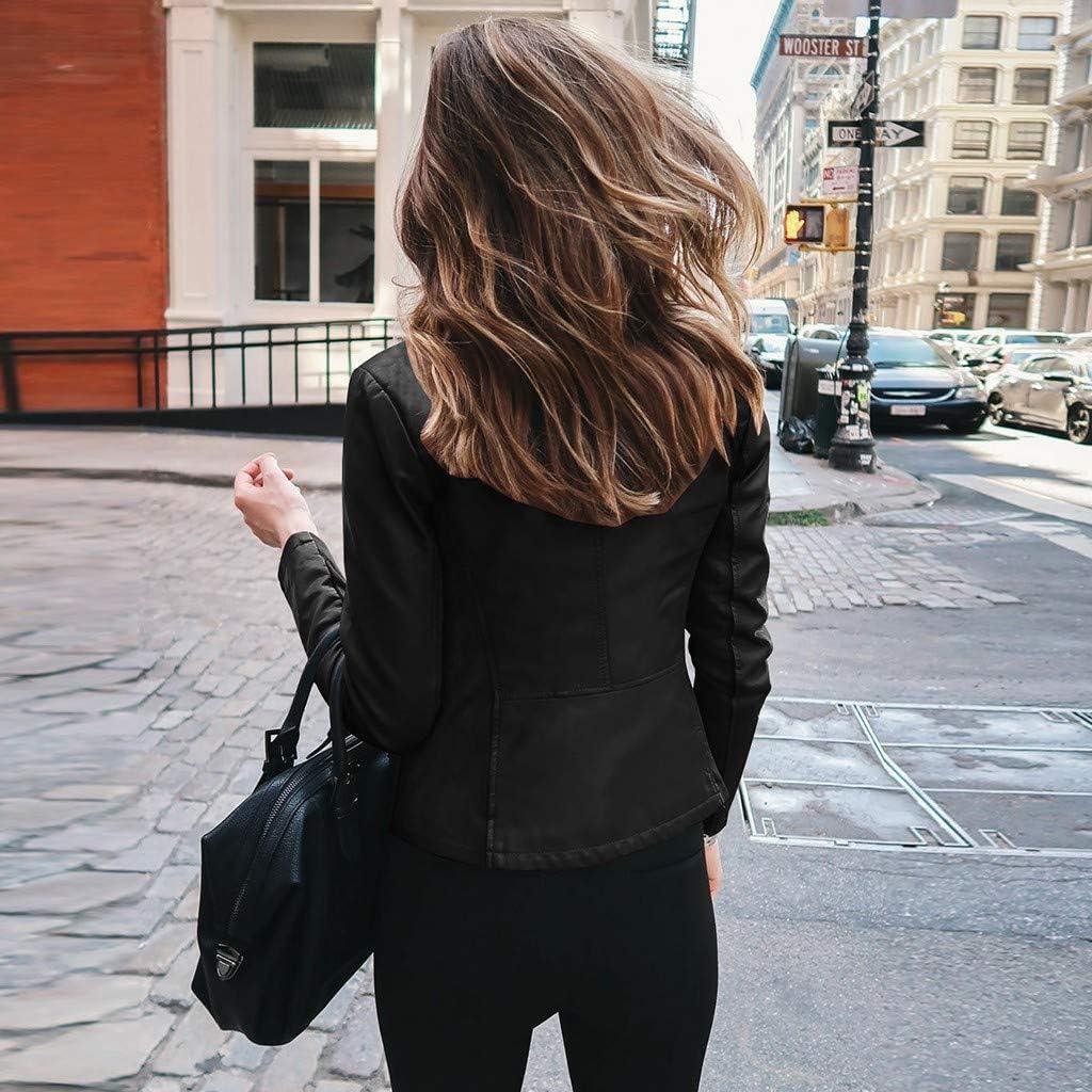Forwelly Winter Crop Jacket for Women Faux Leather Zipper Jacket Fashion Biker Motorcycle Coat Punk Outwear Tops S-L