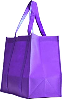 100 Pack Heavy Duty Grocery Tote Bag, Purple Color Large & Super Strong, Reusable Shopping Bags with Stand-up PL Bottom, Non-Woven Convention Tote Bags, Premium Quality (Set of 100 (1BOX), Purple)
