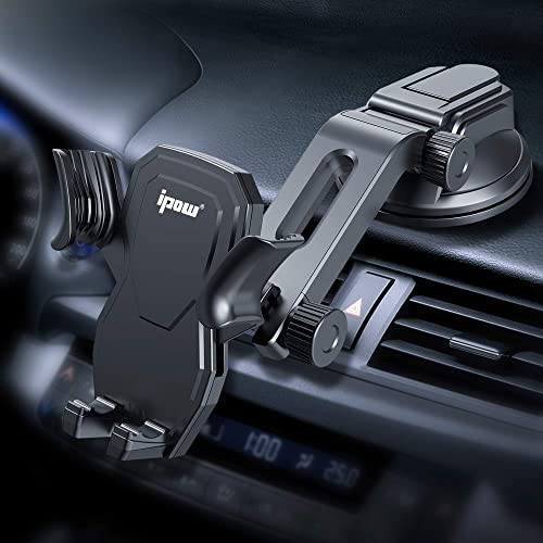 IPOW Car Phone Mount Holder Hands Free Car Phone Holder Dashboard Gravity Cell Phone Holder Mount with Auto Retractab...