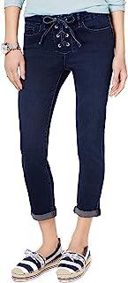 Tommy Hilfiger Women's Lace-Up Cuffed Straight-Leg Jeans Indigo 12