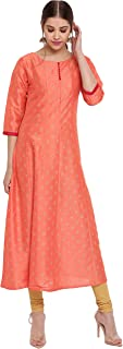 Janasya Indian Women's Peach Poly Silk Kurta