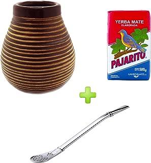 Mein Teeshop Brown ceramic mate cup + Bombilla Stainless Steel Mate cups + Pajarito elaborada 500g