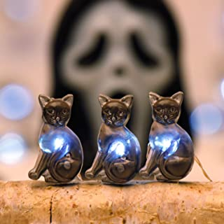 Impress Life HalloweenParty Decoration String Lights, Black Cat Pet 10 ft Silver Wire 40 LEDs Battery Operated with Dimmer Remote & Timer for Indoor, Covered Outdoor, Parties, Mantle Fireplace, Bed