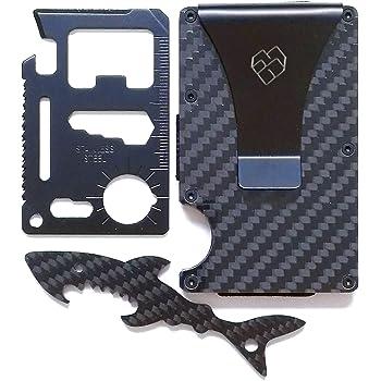 Slim Carbon Fiber Wallet with Money Clip & Real Carbon Fiber Bottle Opener Keychain & Black Metal Minimalist Multitool - RFID Blocking Front Pocket Credit Card Holder for Men and Women