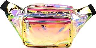 SoJourner Holographic Rave Fanny Pack - Packs for festival women, men | Cute Fashion Waist Bag Belt Bags (Gold & Pink Transparent)