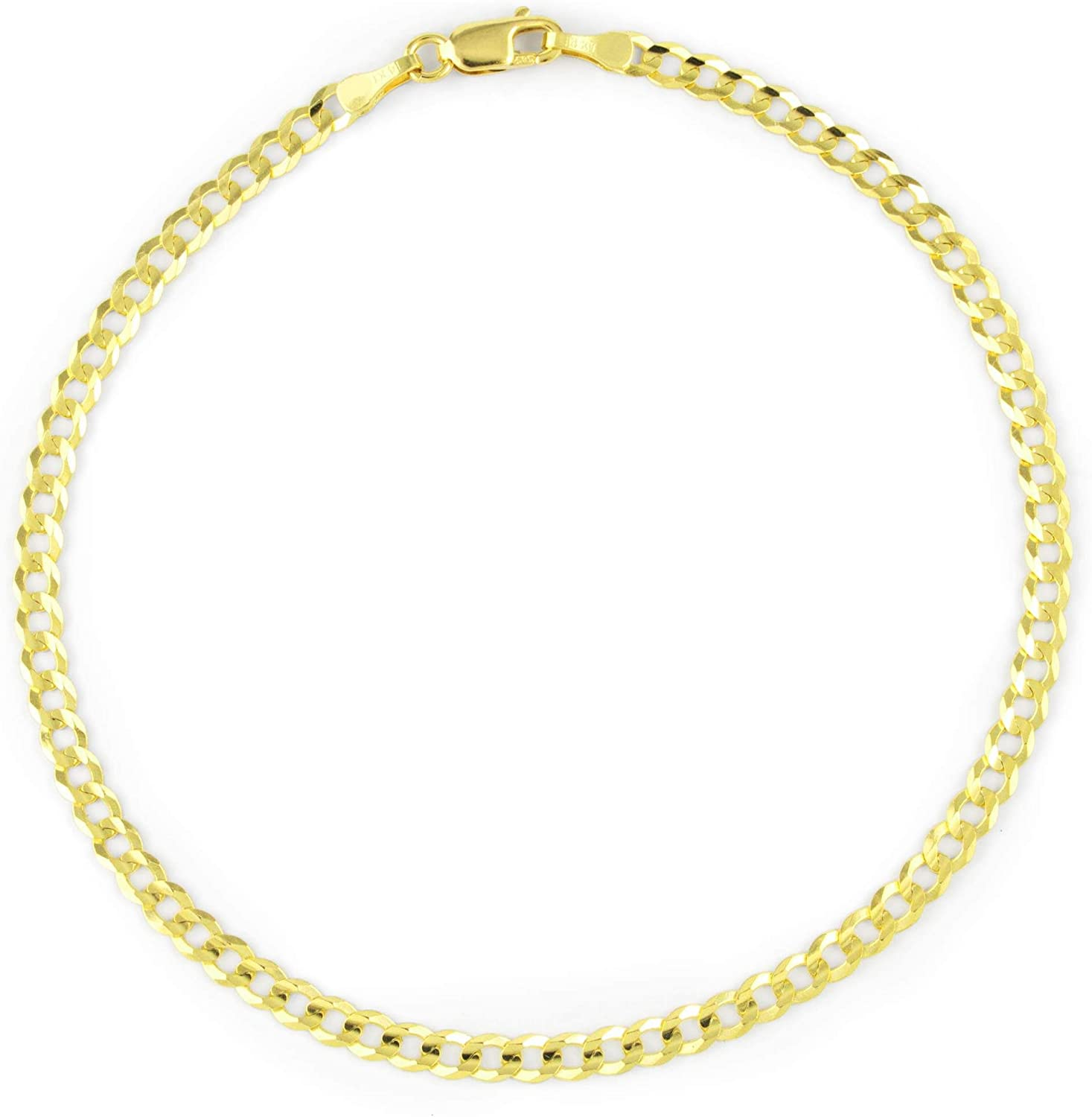 Nuragold 14k Yellow Gold 3mm Solid Cuban Curb Link Chain Bracelet or Anklet, Womens Mens Lobster Lock 7