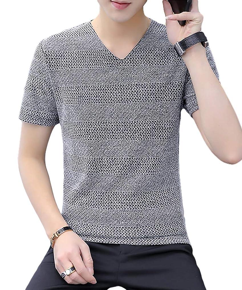 回復するドループチャーム[Flapkash(フラップカッシュ)] vネック サマーセーター tシャツ 大人 カジュアル トップス インナー 半袖 メンズ