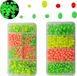 AGOOL Fishing Bead Assorted Kit - 1000pcs/box Luminous Soft Plastic Oval Shaped Beads Green Glow Fluorescent Round Beads Fishing Tackle Eggs Saltwater Fishing Lures for Deep Drop Rigs Night Fishing