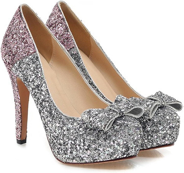 Paillette Bowknot Platform Sexy High Heel shoes pink 39