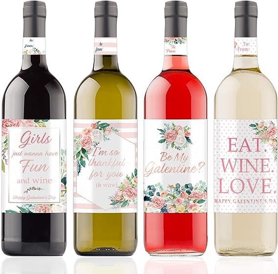 Galentine's Day Wine Bottle Labels - Floral Best Friend Valentine - 4 Count
