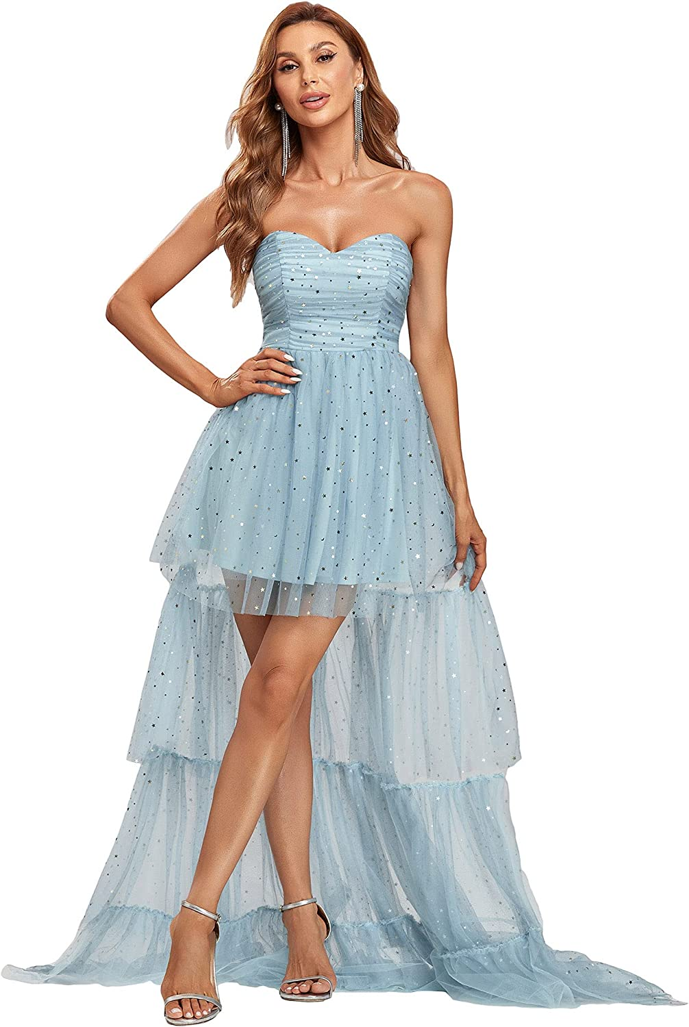 Ever-Pretty Women's Gold Stamping Tulle Ruched Sleeveless Homecoming Dress Formal Party Dress 30245