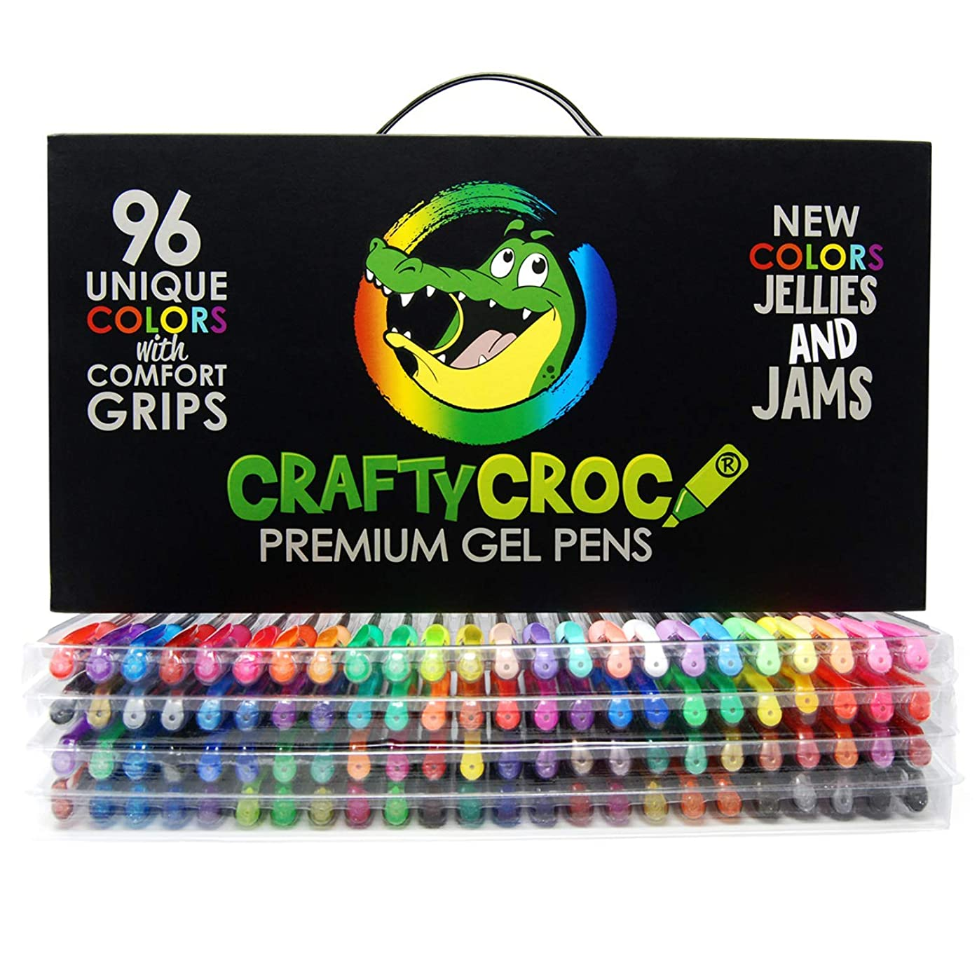 Crafty Croc Gel Pens for Adult Coloring Books - Refillable Ink Gel Pen Set with Case - Includes 96 Artist Quality Coloring Pens: Glitter, Metallic, Pastel (1 White), Neon - Soft Comfort Grips