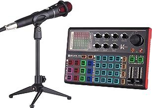 Queenser SK300 Live Sound Card Trocador de voz externo Kit de mixagem de áudio Bateria recarregável embutida Vários efeito...