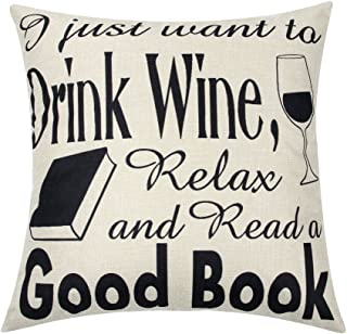 Ogiselestyle I Just Want to Read A Good Book Motivational Sign Cotton Linen Home Decorative Throw Pillow Case Cushion Cover with Words for Book Lover Sofa Couch 18