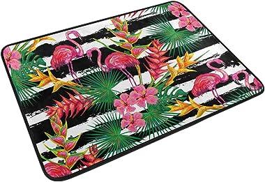 Mydaily Tropical Flamingo Palm Leaves Flowers Stripe Doormat 15.7 x 23.6 inch, Living Room Bedroom Kitchen Bathroom Decorativ