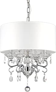 Edvivi 6-Light White Fabric Round Drum Shade Chrome Finish Crystal Chandelier Ceiling Fixture | Glam Lighting