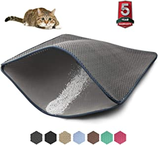 WePet Cat Litter Mat, Kitty Litter Trapping Mat, Honeycomb Double Layer Mats, No Phthalate, Urine Waterproof, Easy Clean, Scatter Control, Catcher Litter Tray Box Rug Carpet