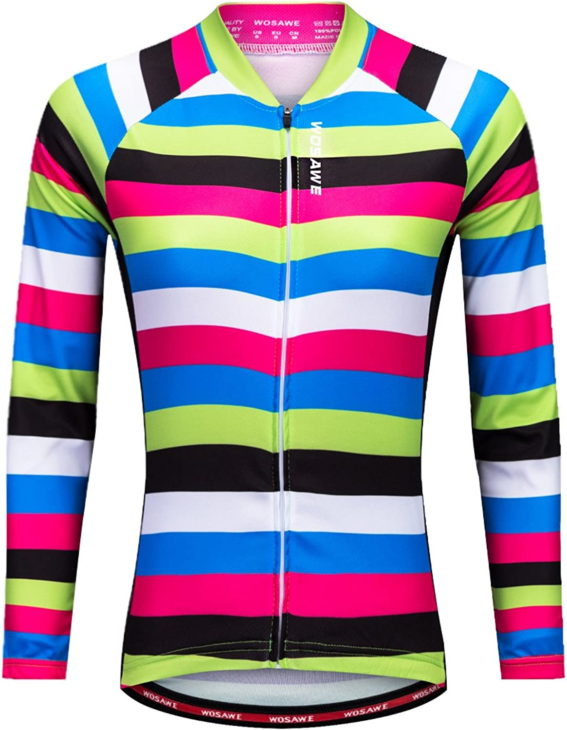WOSAWE Womens Cycling Jersey Shirt Long Sleeves Breathable 4D Padded Pants (Strips A, Medium)