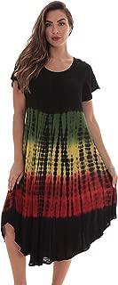 Rasta Sundress for Women Rayon Cap Sleeve Summer Dress