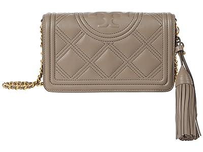 Tory Burch Fleming Soft Wallet Crossbody (Gray Heron) Handbags