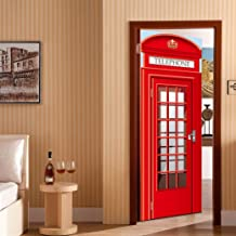 vmree 3D Door Wallpaper, Waterproof Removable London Telephone Box Phone Booth Mural Wall Stickers Decor (Red)