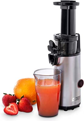 Dash DCSJ255 Deluxe Compact Power Slow Masticating Extractor Easy to Clean, Cold Press Juicer with Brush, Pulp Measuring Cup, Frozen Attachment and Juice Recipe Guide, Graphite