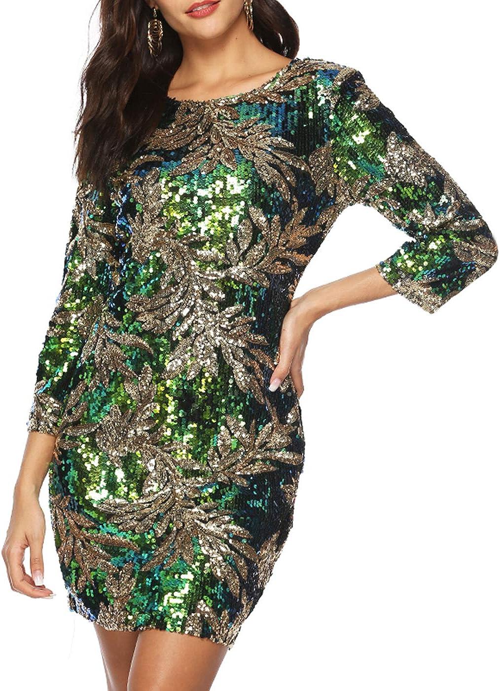 Zshujun Women's 1920s Glitter Sequin Mini Party Dress Club Bodycon Gowns 2467