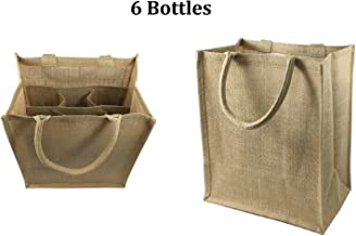 Jute Wine Tote With Dividers, Wine Bags, 100% Jute with Cotton Handles, 2 - 4 - 6 Bottles , (1, 4 Bottles)