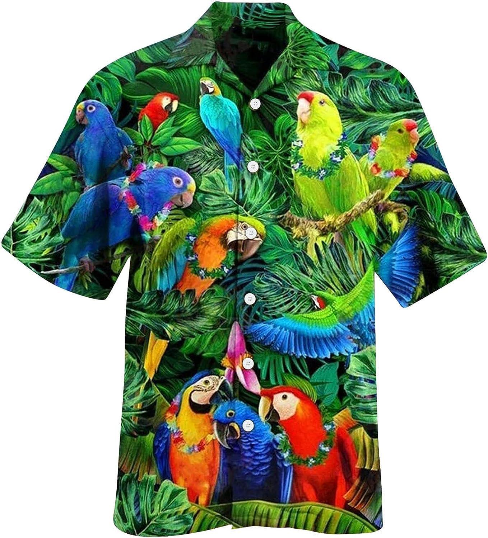 QWENTMTNTY Mens Hawaiian Shirts Casual Summer Fashion Big and Tall Short Sleeve T-Shirts Graphic Printed Unisex Beach Tees