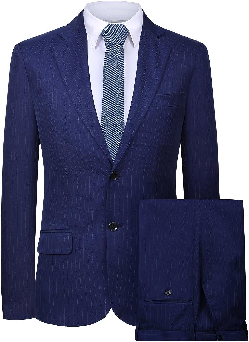 Men's Blazer 2 Pieces Casual Business Vent Suit Formal Stripes Jacket and Pants