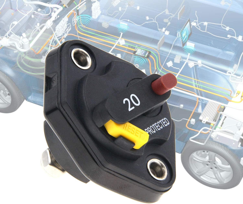 RKURCK 12V-32V DC Manual Reset Circuit Breaker Fuse Inverter 30A for Auto Truck RV Marine Trailer Waterproof
