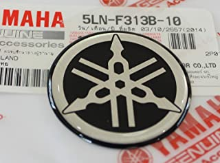 Yamaha 5LN-F313B-10 - Genuine 40MM Diameter Yamaha Tuning Fork Decal Sticker Emblem Logo Black / Silver Raised Domed Gel Resin Self Adhesive Motorcycle / Jet Ski / ATV / Snowmobile