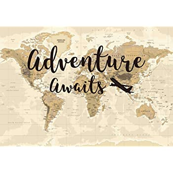 7x10 FT Adventure Vinyl Photography Backdrop,Create Your Own Adventure Lettering with Crowded Backdrop Cute Little Hearts Background for Baby Shower Bridal Wedding Studio Photography Pictures
