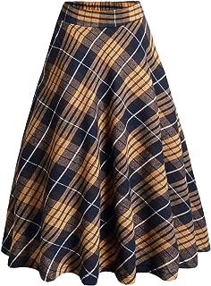 Women's Elastic High Waist A-line Linen Midi Pleated Skirt with Pocket