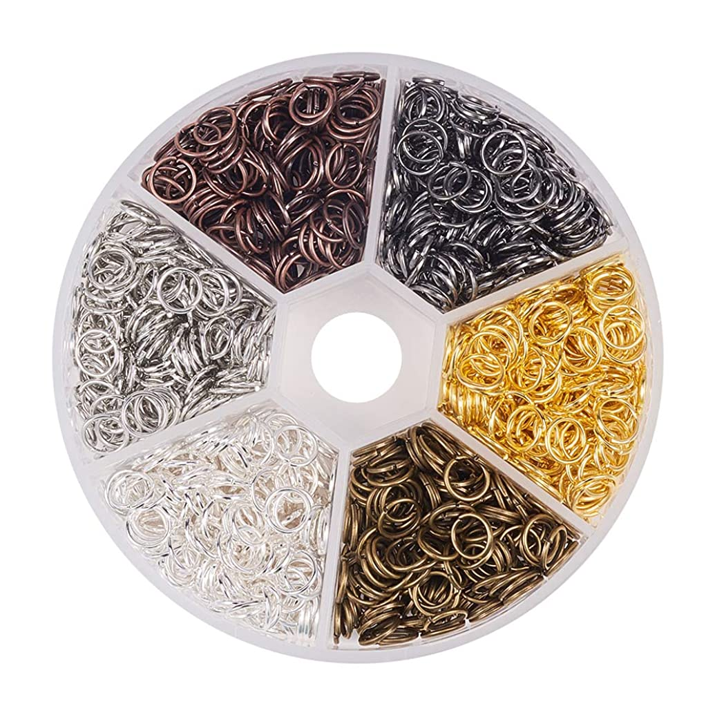 Pandahall 1 Box (About 1800pcs) 6 Colors 6mm Open Iron Jump Rings Conectors for Jewelry Making Accessories Nickel Free