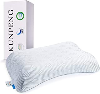 Memory Foam Pillows for Sleeping, KUNPENG Cooling Gel Pillows for Lady Women, Cervical Bed Pillow for Neck Support - Side ...