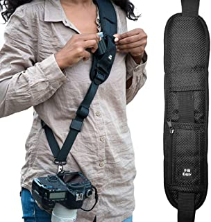 HiiGuy Camera Strap, Adjustable Padded Sling for All SLR and DSLR Cameras, Neck and Shoulder Strap, 32 Inches Long, with Screw Mount, Safety Tether, Microfiber Lens Cleaning Cloth, and eBook