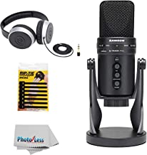 Samson G-Track Pro Professional USB Mic with Audio Interface & shock Mount Cradle + Headphones + 7-pack of Mini CableWrap & Clean Cloth