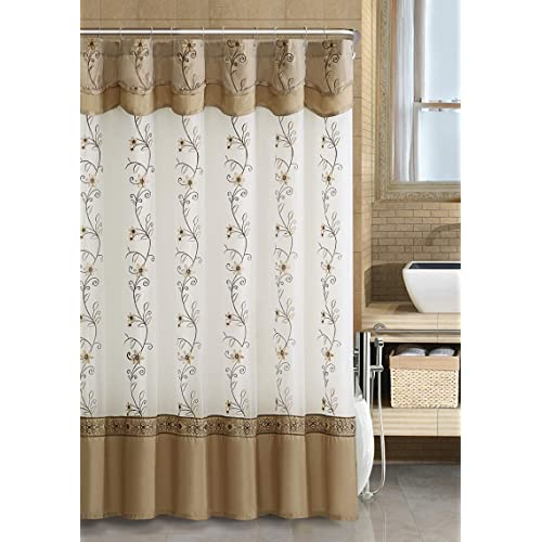 GoodGram VCNY Luxurious Daphne Embroidered Sheer Taffeta Fabric Shower Curtains By Assorted Colors Beige