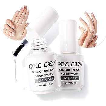 Gellen No Wipe Top Coat Base Coat for Gel Nail Polish - Long Lasting Nail Gel Manicure High Glossy Finish, 0.27 fl oz Each