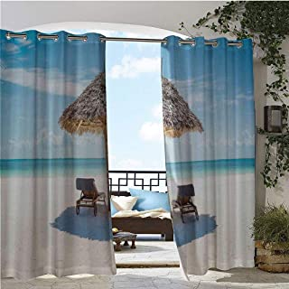 Outdoor- Free Standing Outdoor Privacy Curtain, Wooden Sun Loungers Facing Eastern Ocean under a Thatched Umbrella in Zanzibar, for Front Porch Covered Patio Gazebo Dock Beach Home W96 x L108 Inch Tur