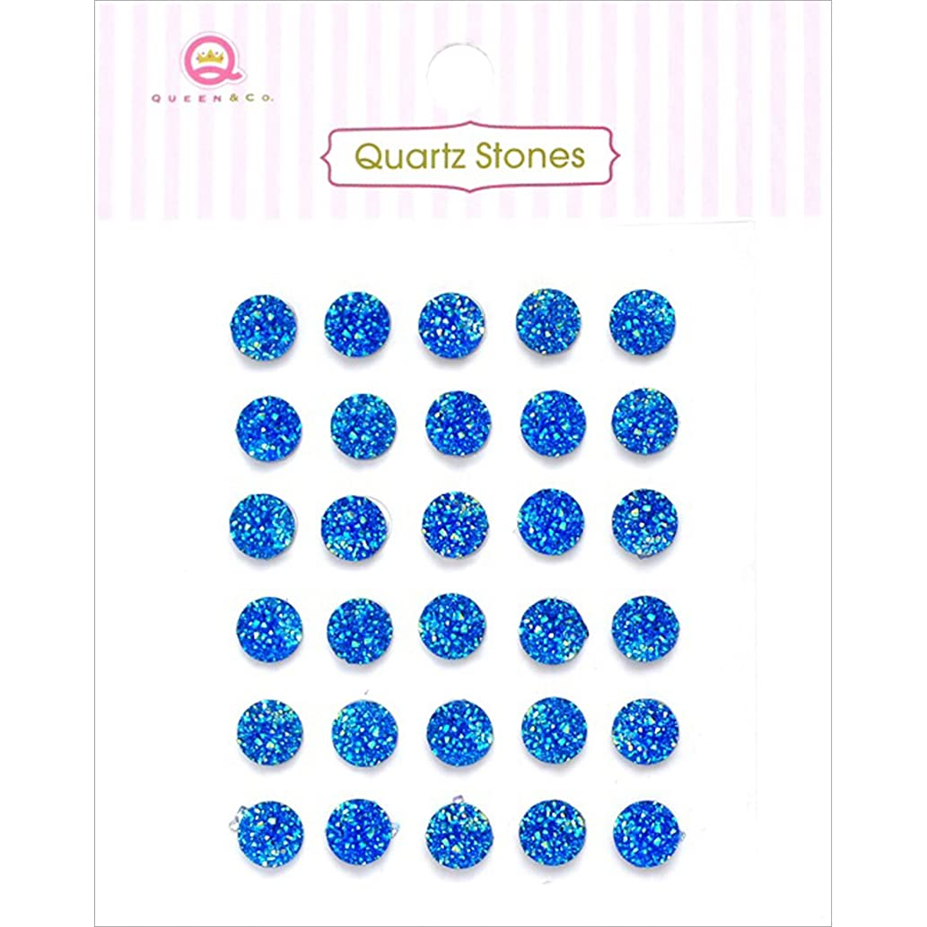 Queen & Co Quartz Stones Self-Adhesive Embellishments (30 Pack), Blue