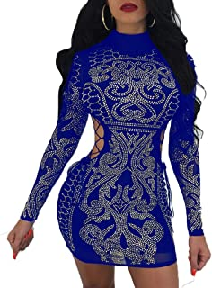 870171ae39 Nhicdns Women's Sexy Rhinestone Mesh See Through Sequins Sheer Bodycon  Cocktail Party Club Pencil Dress