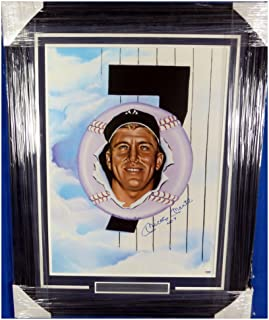 Mickey Mantle Autographed Signed Framed 18x24 NY Yankees Lithograph Photo No. 7 - PSA/DNA Authentic