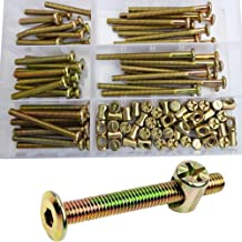 Furniture Barrel Screws Zinc Plated Metric Hex Drive Socket Cap Bolt Nuts Assortment Kit for Furniture Parts Cots Beds Crib and Chairs Bookcase Hardware,100pcs M6x40/50/60/70/80mm