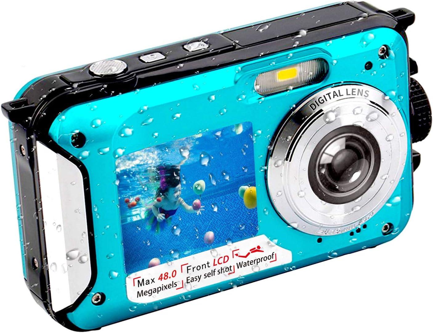 Underwater Camera FHD 2.7K 48 MP Waterproof Digital Camera Selfie Dual Screen Full-Color LCD Displays Waterproof Digital Camera for Snorkeling (806BC) : Electronics