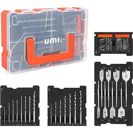 Amazon Brand - Umi Bohrer und Schrauber Set, 55tlg, für Holz-, Metall-, Zementbohrungen und Schraubenantriebe, mit Kunststoffkoffer